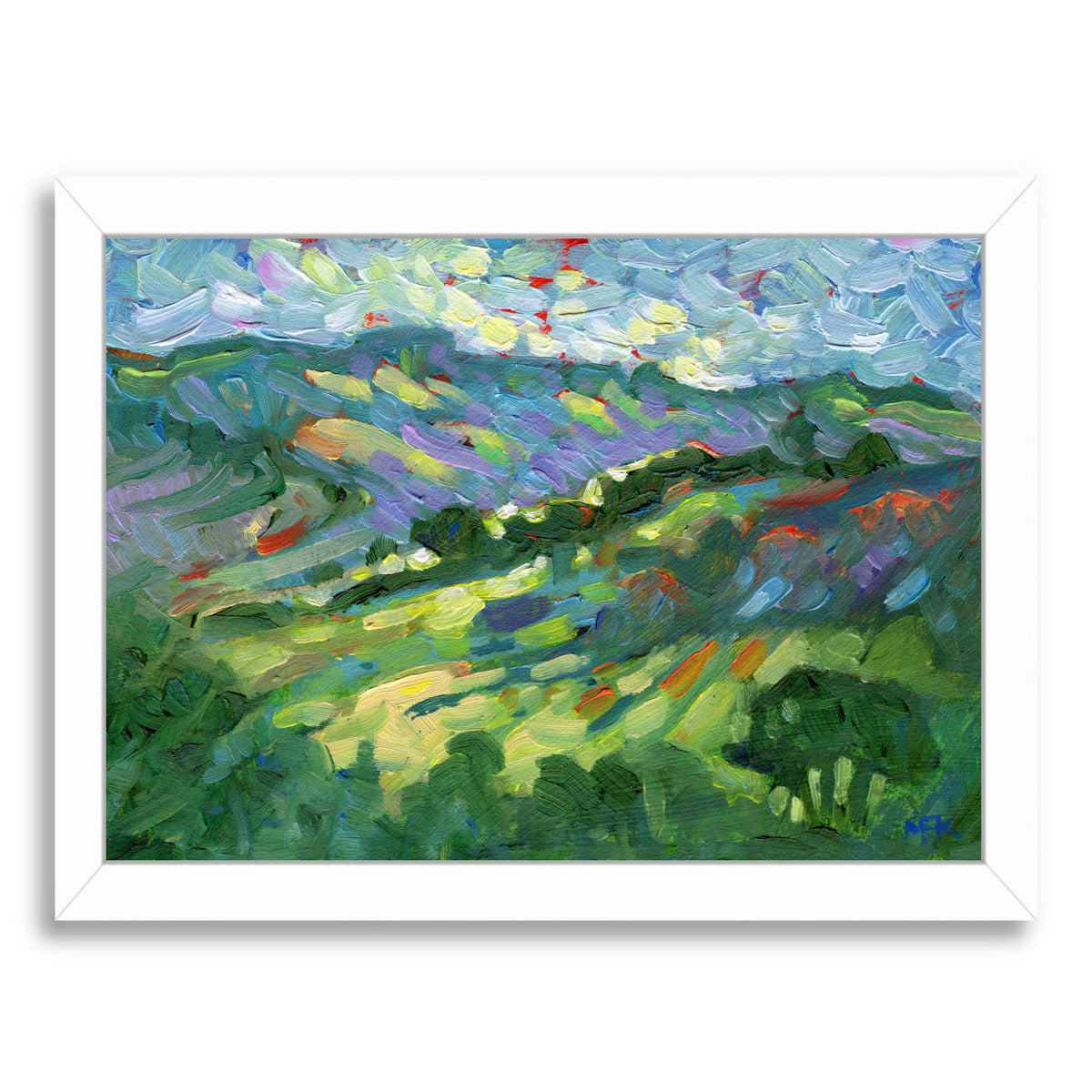 "Hillside By Mary Kemp - White Framed Print, Wall Art, Mary Kemp, 8"" x 10"""