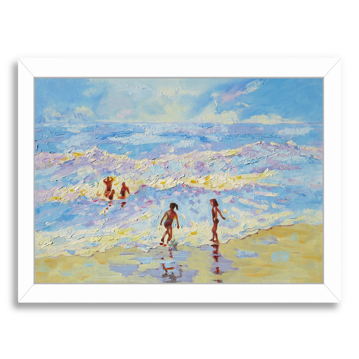 Summer Holiday By Mary Kemp - White Framed Print - Wall Art - Americanflat