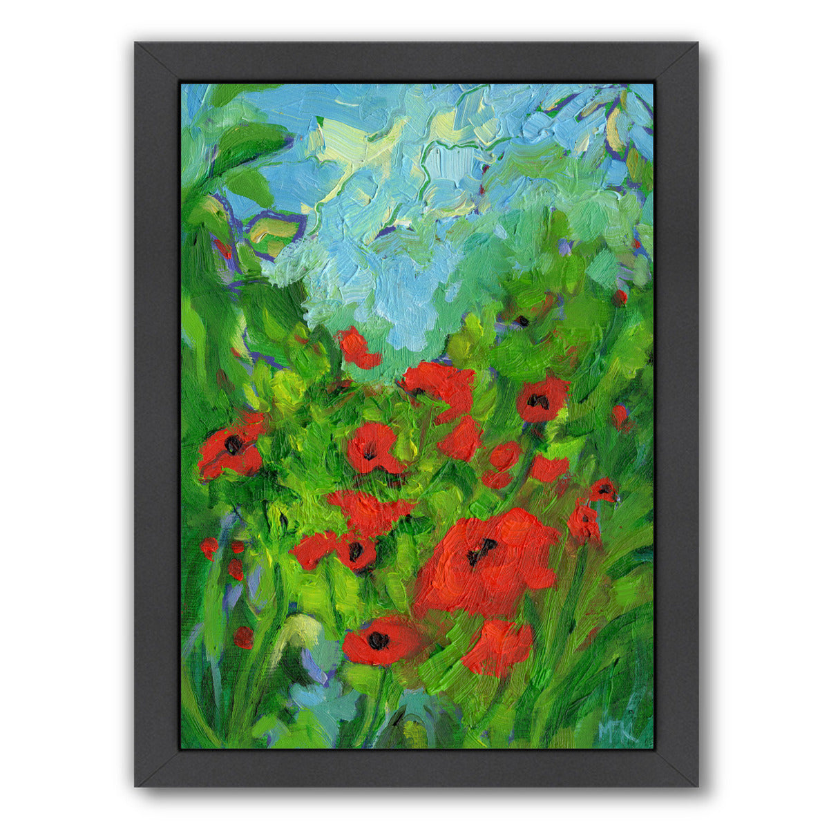 Twenty One Poppies By Mary Kemp - Black Framed Print - Wall Art - Americanflat