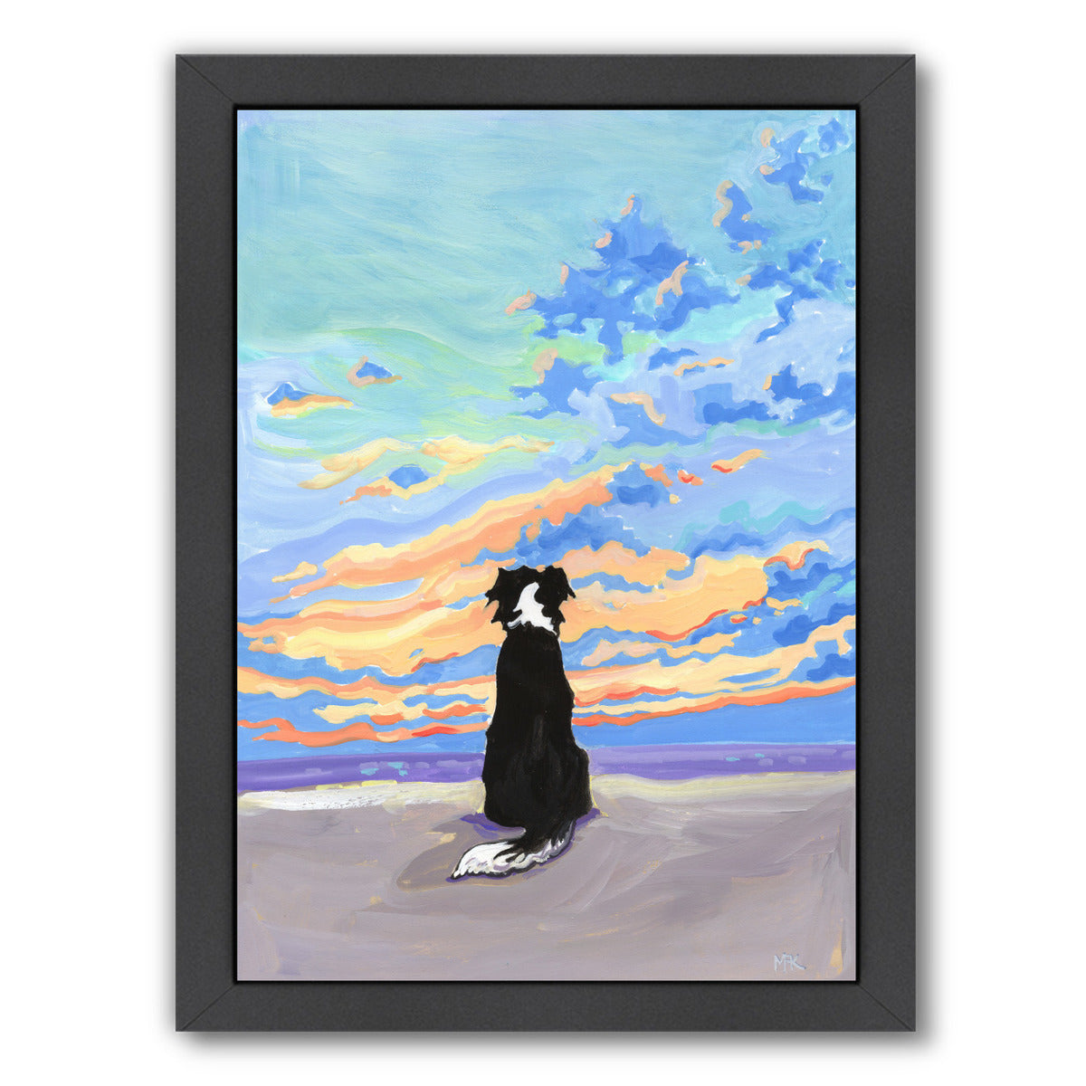Watching The Sunset By Mary Kemp - Black Framed Print - Wall Art - Americanflat