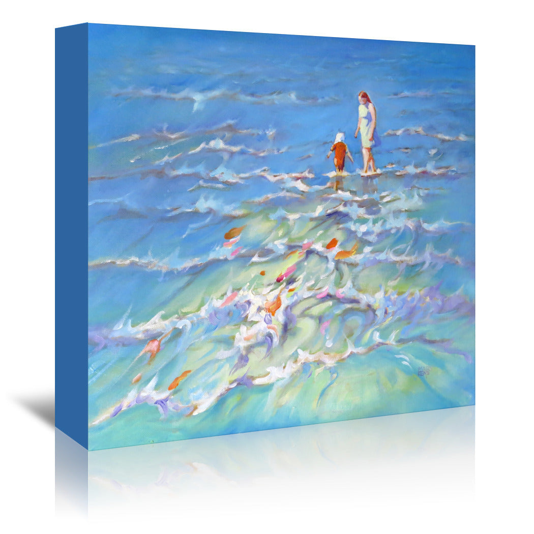 Mother And Child At The Seaside By Mary Kemp - Wrapped Canvas - Wrapped Canvas - Americanflat