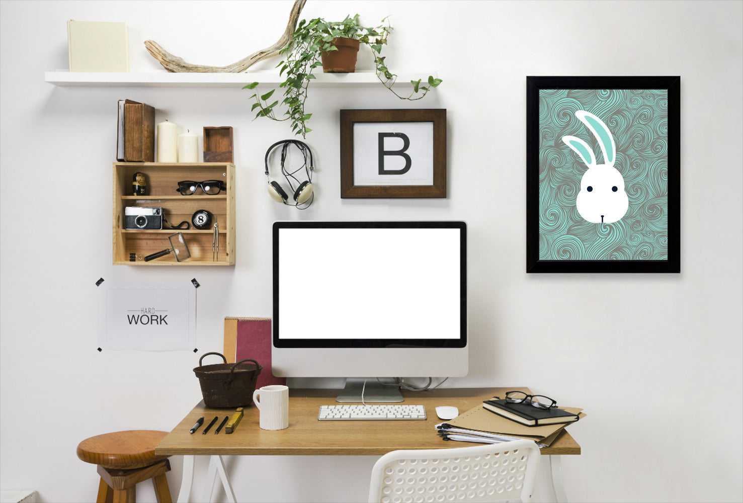 Bunny White By Good Vibe Design - Black Framed Print - Wall Art - Americanflat