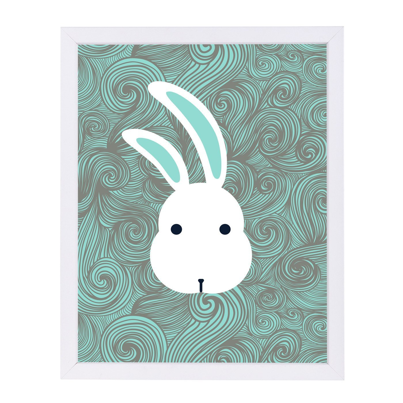 Bunny White By Good Vibe Design - White Framed Print - Wall Art - Americanflat