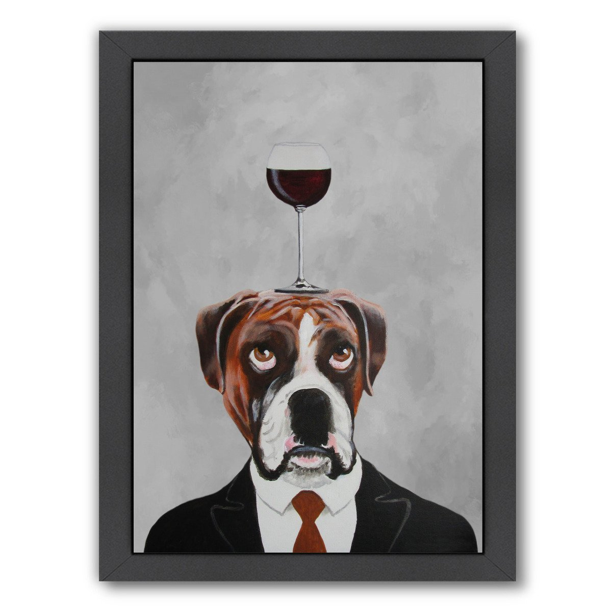 Boxer With Wineglass By Coco De Paris - Black Framed Print - Wall Art - Americanflat