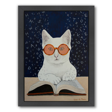 Cat Reading Book By Coco De Paris - Black Framed Print - Wall Art - Americanflat