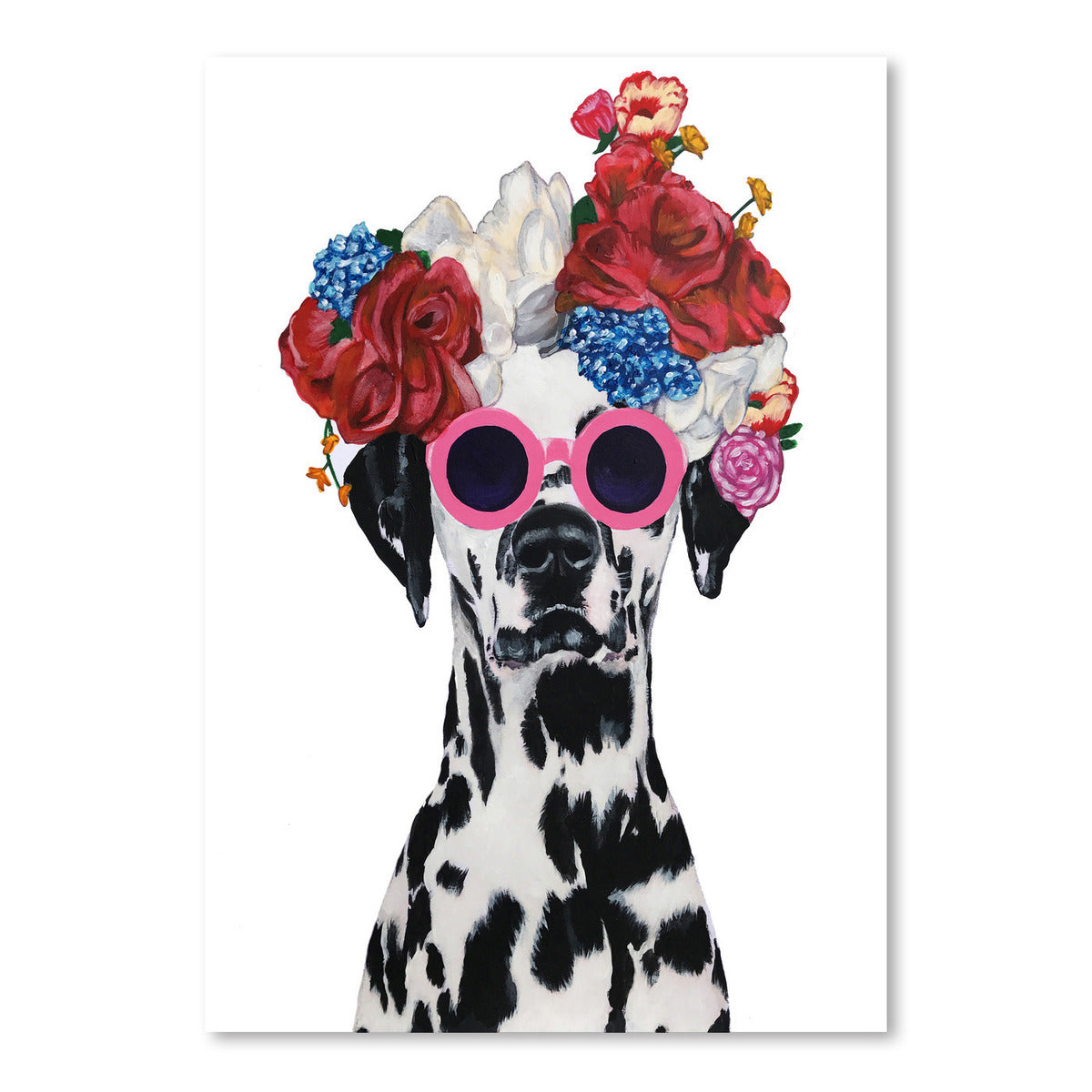 Dalmatian Flower Power White by Coco de Paris - Art Print - Americanflat