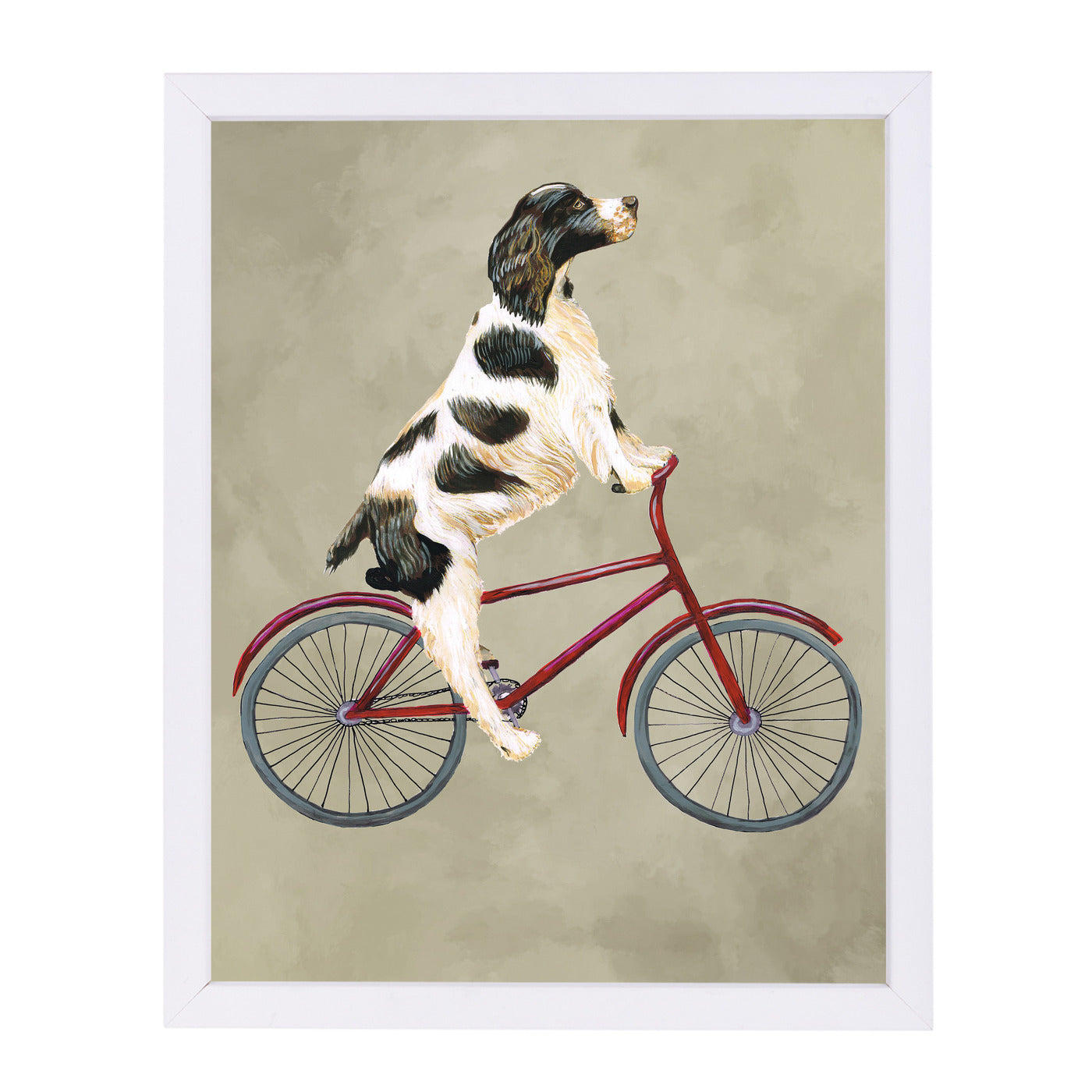 English Springer On Bicycle By Coco De Paris - White Framed Print - Wall Art - Americanflat