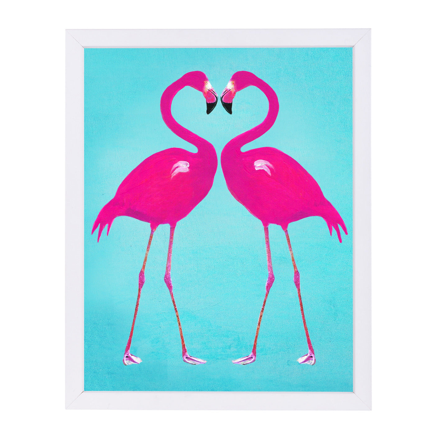 Flamingo Heart By Coco De Paris - White Framed Print - Wall Art - Americanflat