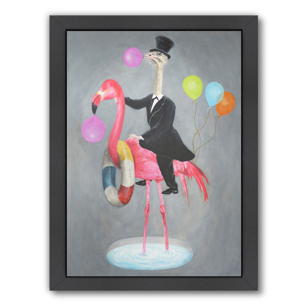 Flamingo With Ostrich By Coco De Paris - Black Framed Print - Wall Art - Americanflat
