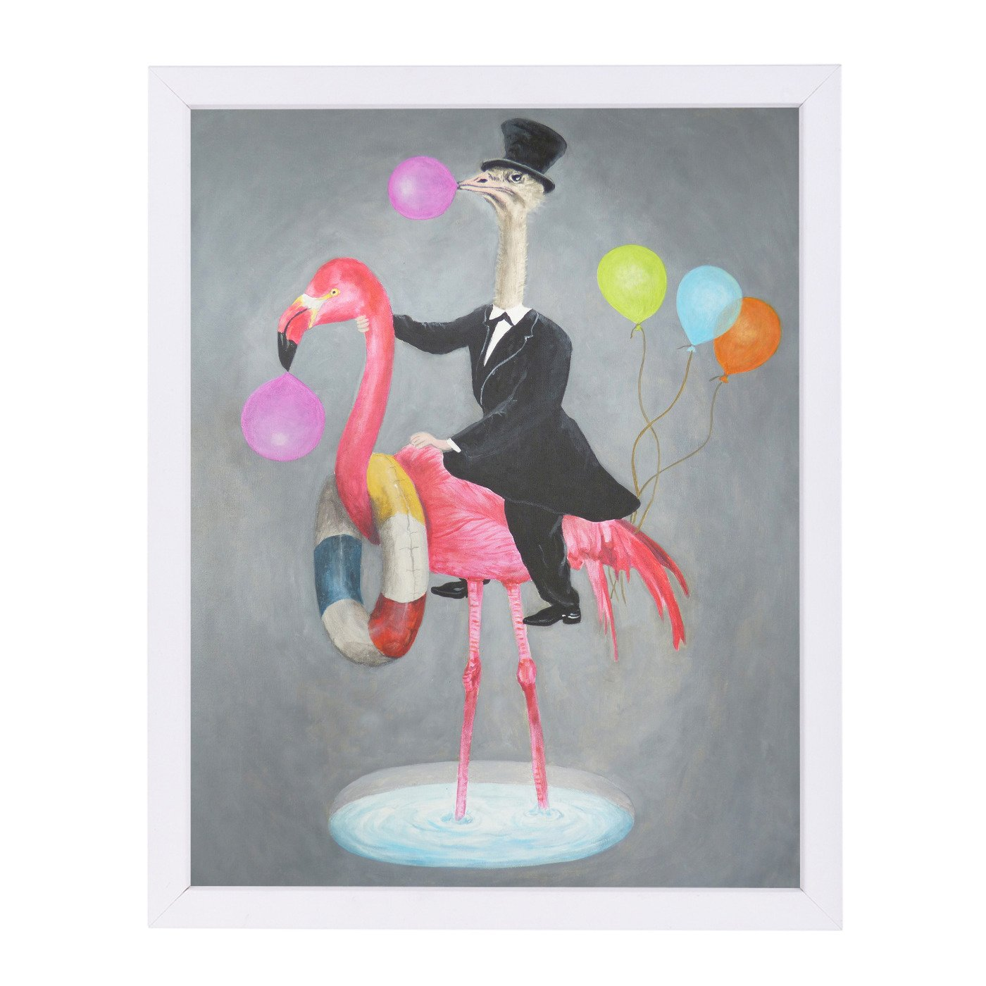 Flamingo With Ostrich By Coco De Paris - Framed Print