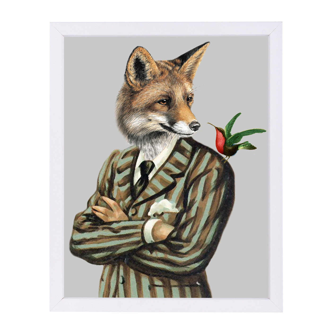 Fox With Bird By Coco De Paris - White Framed Print - Wall Art - Americanflat