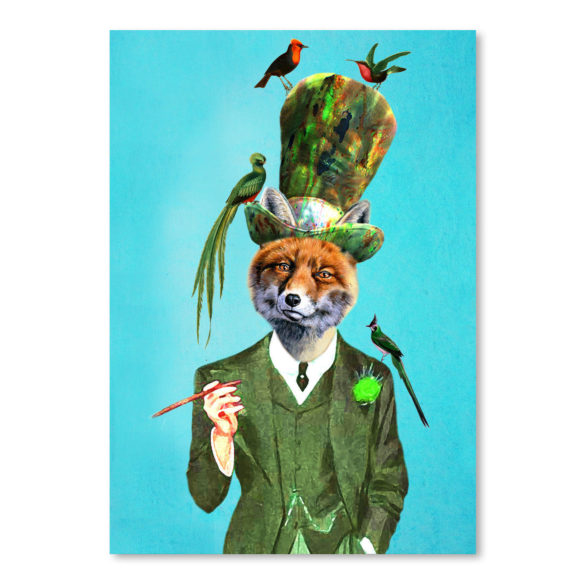 Fox With Hat And Birds by Coco de Paris - Art Print - Americanflat