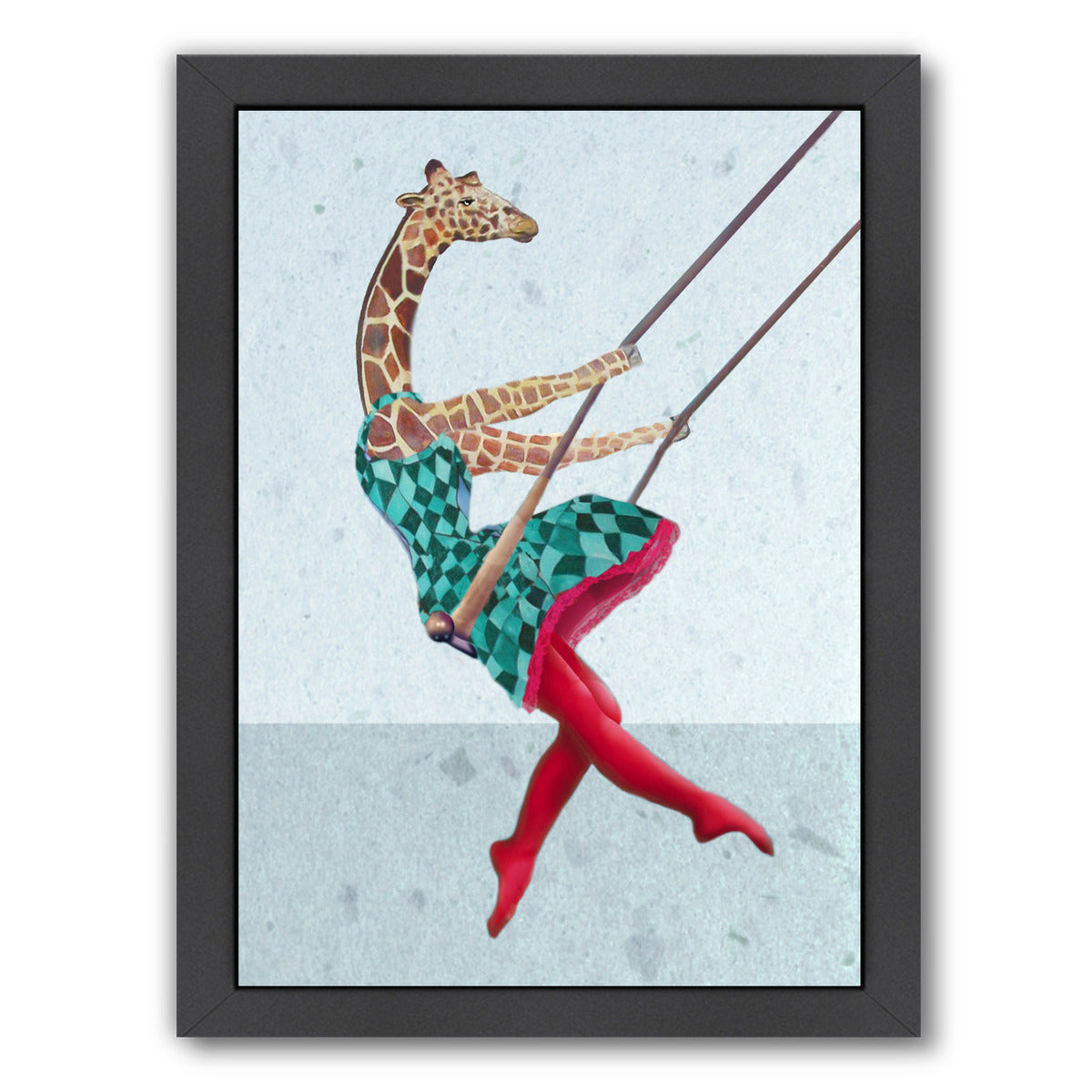 Giraffe On A Swing By Coco De Paris - Black Framed Print - Wall Art - Americanflat