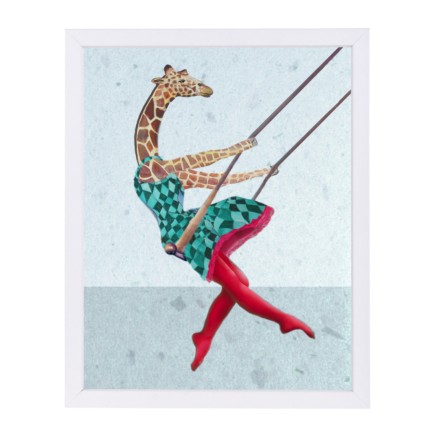 "Giraffe On A Swing By Coco De Paris - White Framed Print, Wall Art, Coco de Paris, 8"" x 10"""