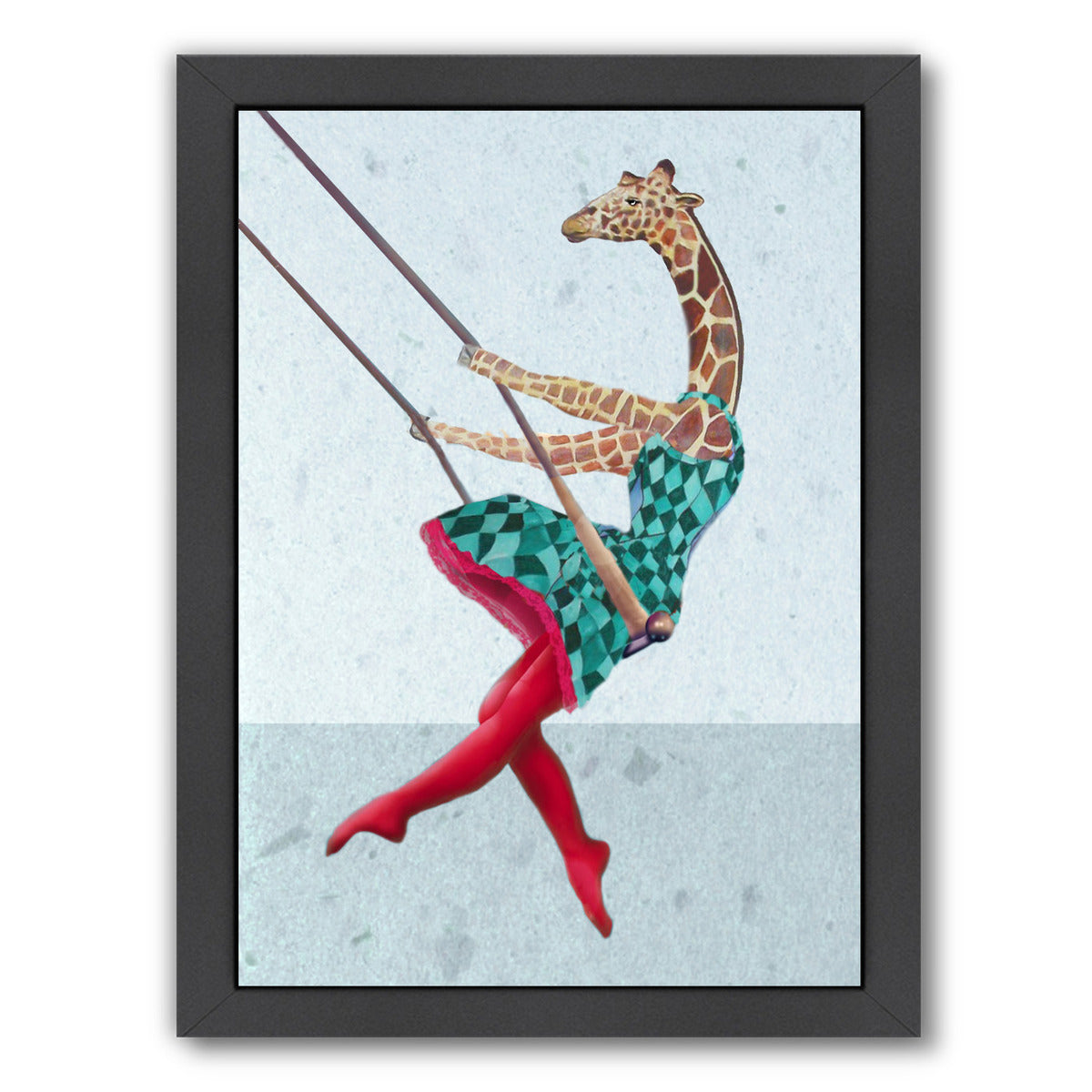 Giraffe On A Swing Right By Coco De Paris - Black Framed Print - Wall Art - Americanflat