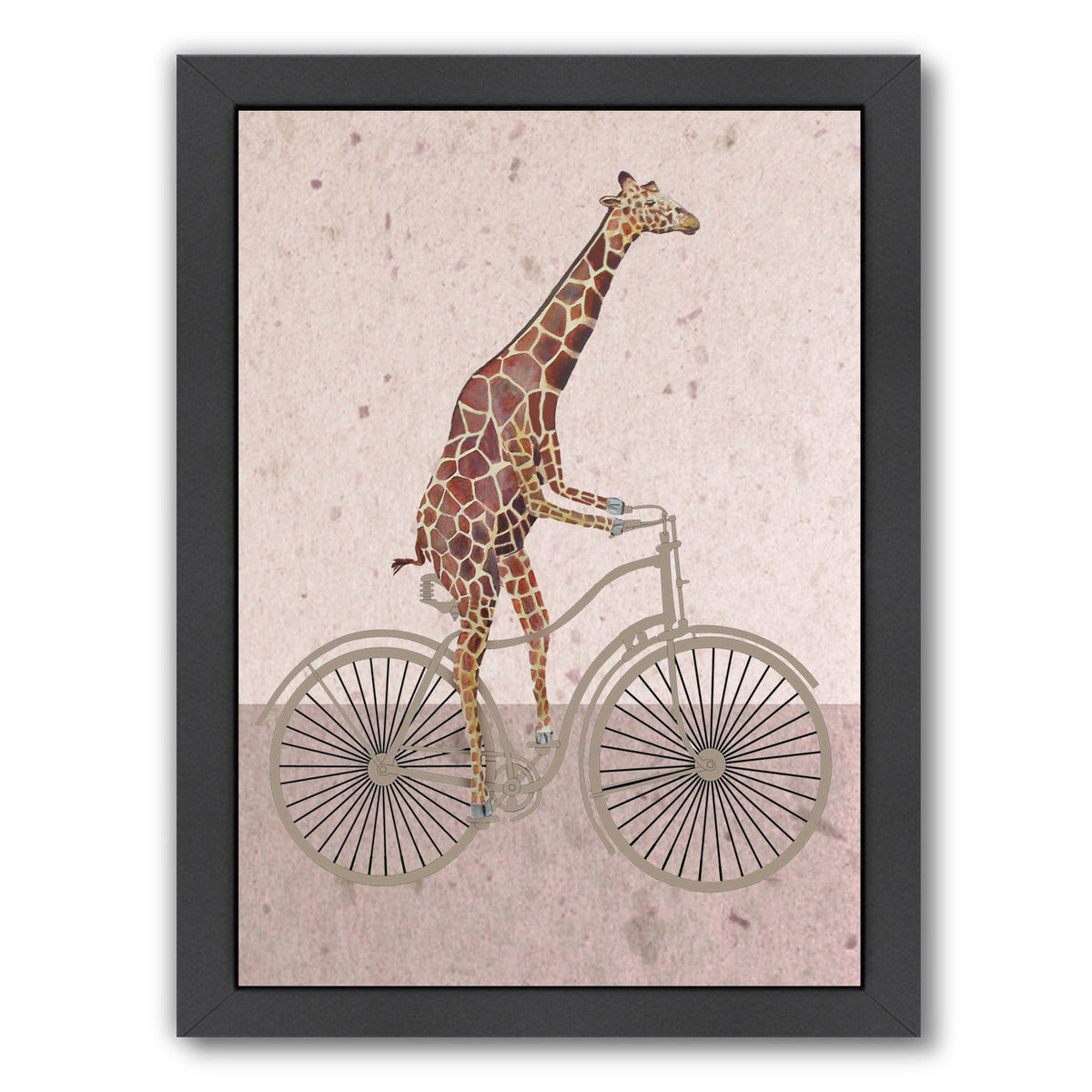 "Giraffe On Bicycle By Coco De Paris - Black Framed Print, Wall Art, Coco de Paris, 8"" x 10"""