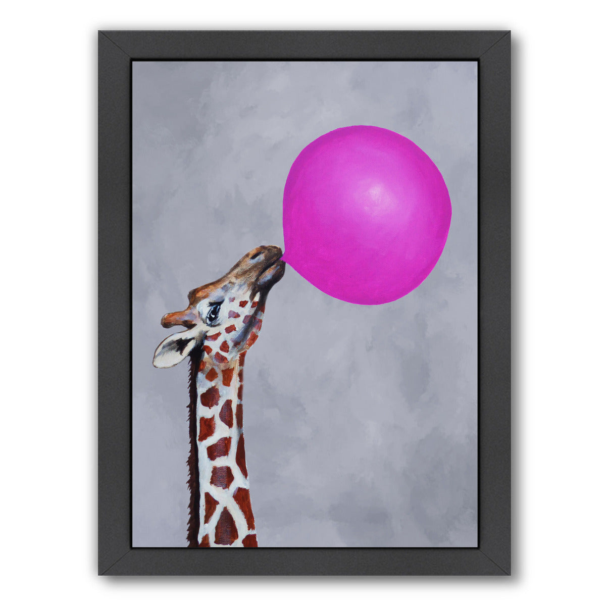 Giraffe With Bubblegum By Coco De Paris - Black Framed Print - Wall Art - Americanflat