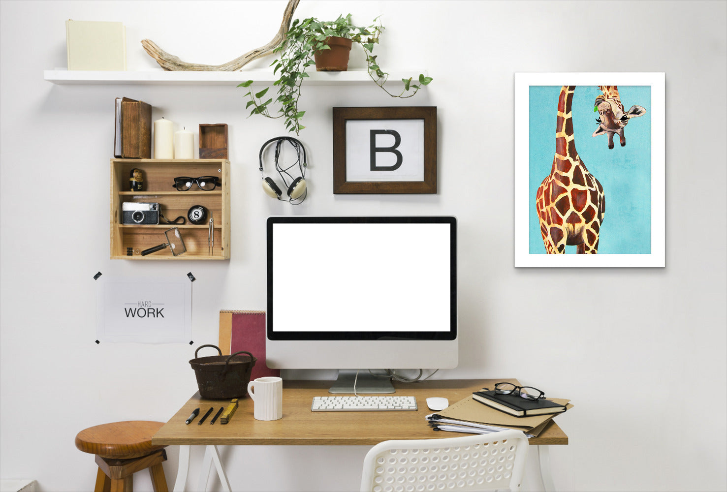 Giraffe With Green Leave By Coco De Paris - White Framed Print
