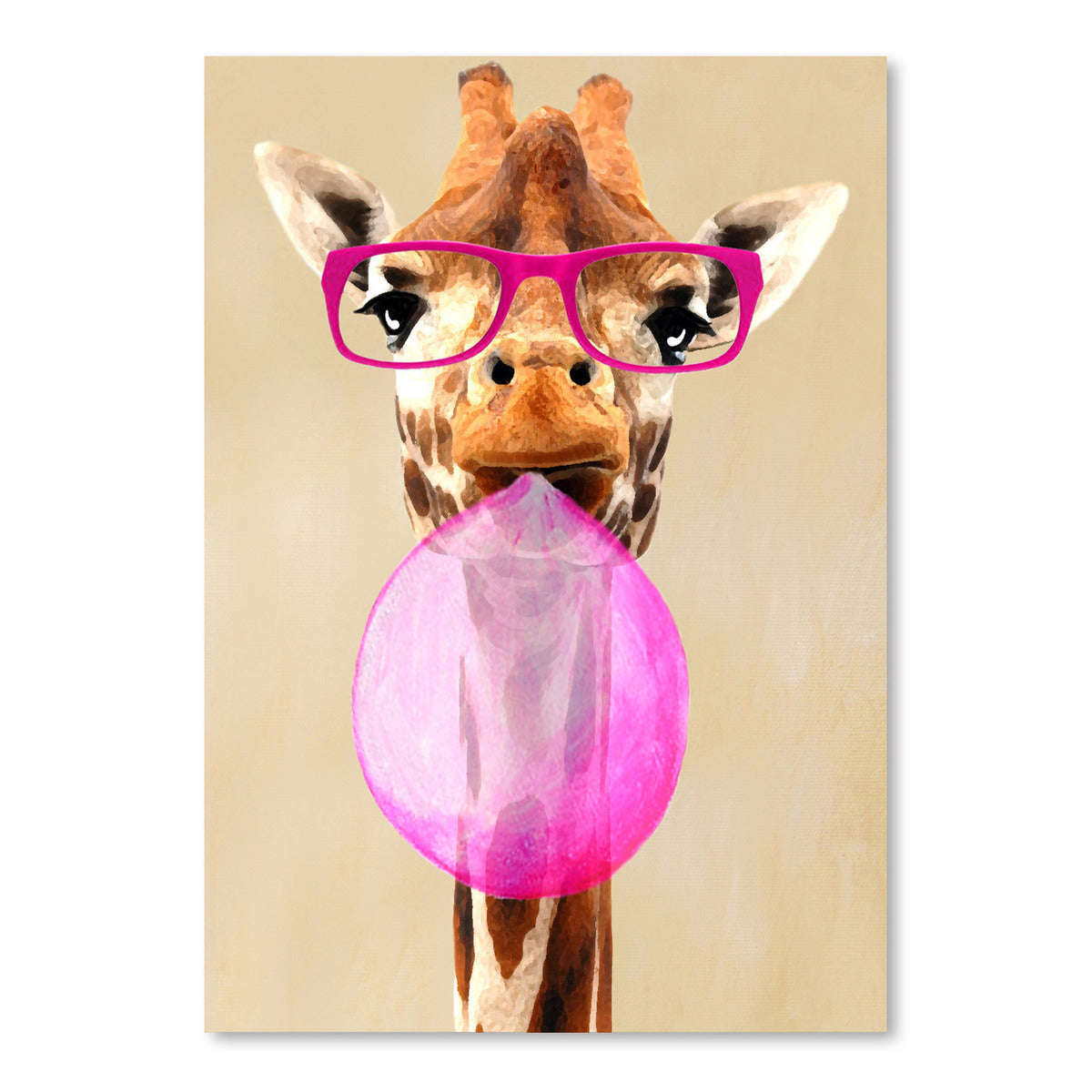 Giraffe With Spectacles And Bubblegum by Coco de Paris - Art Print - Americanflat