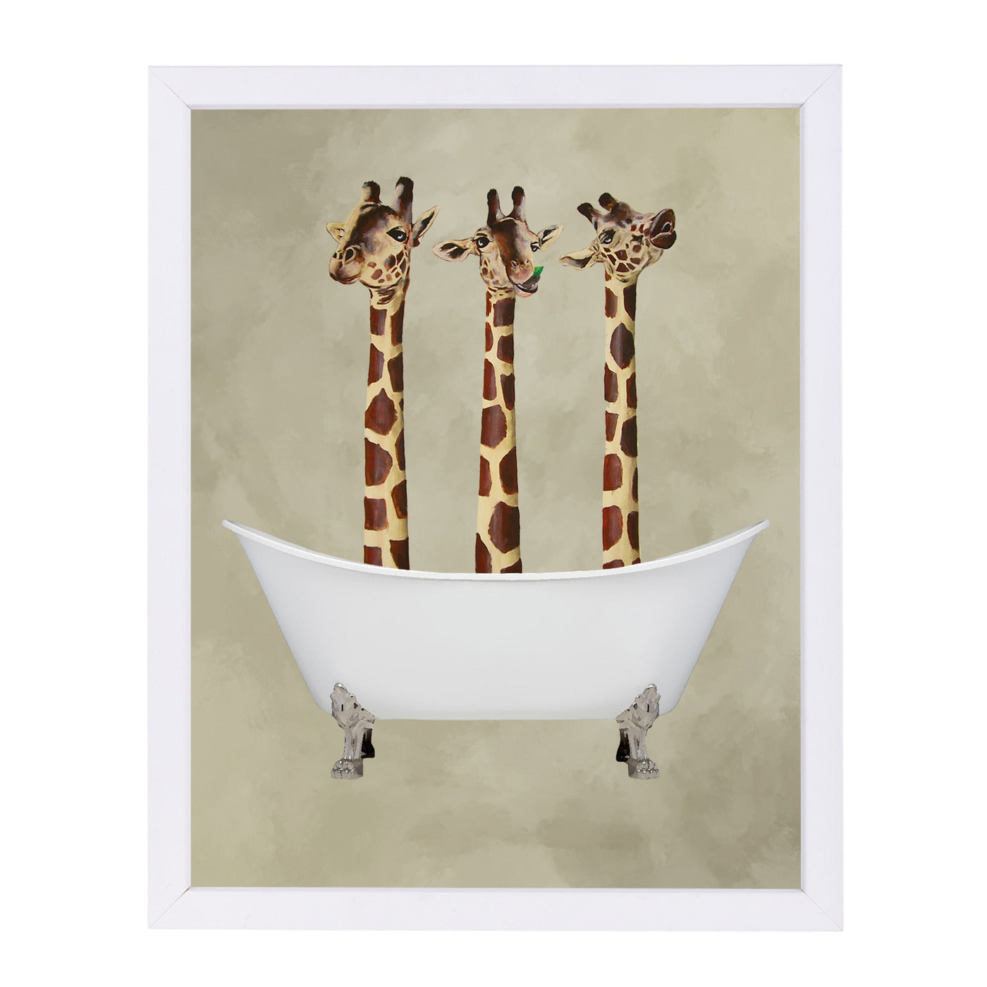 "Giraffes In Bathtub By Coco De Paris - White Framed Print, Wall Art, Coco de Paris, 8"" x 10"""