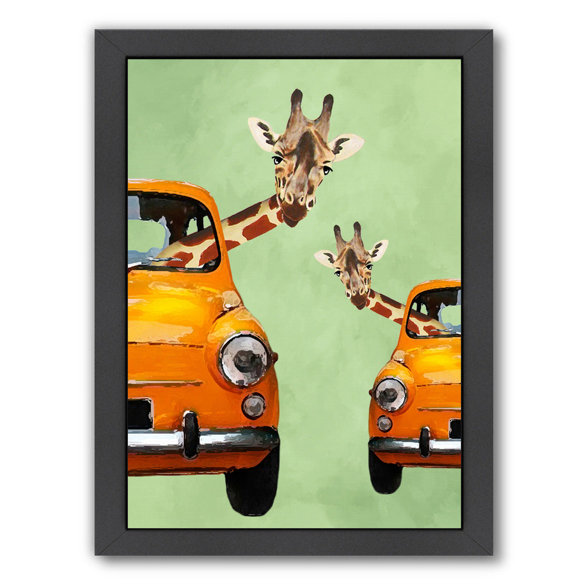 Giraffes In Yellow Cars By Coco De Paris - Black Framed Print - Wall Art - Americanflat