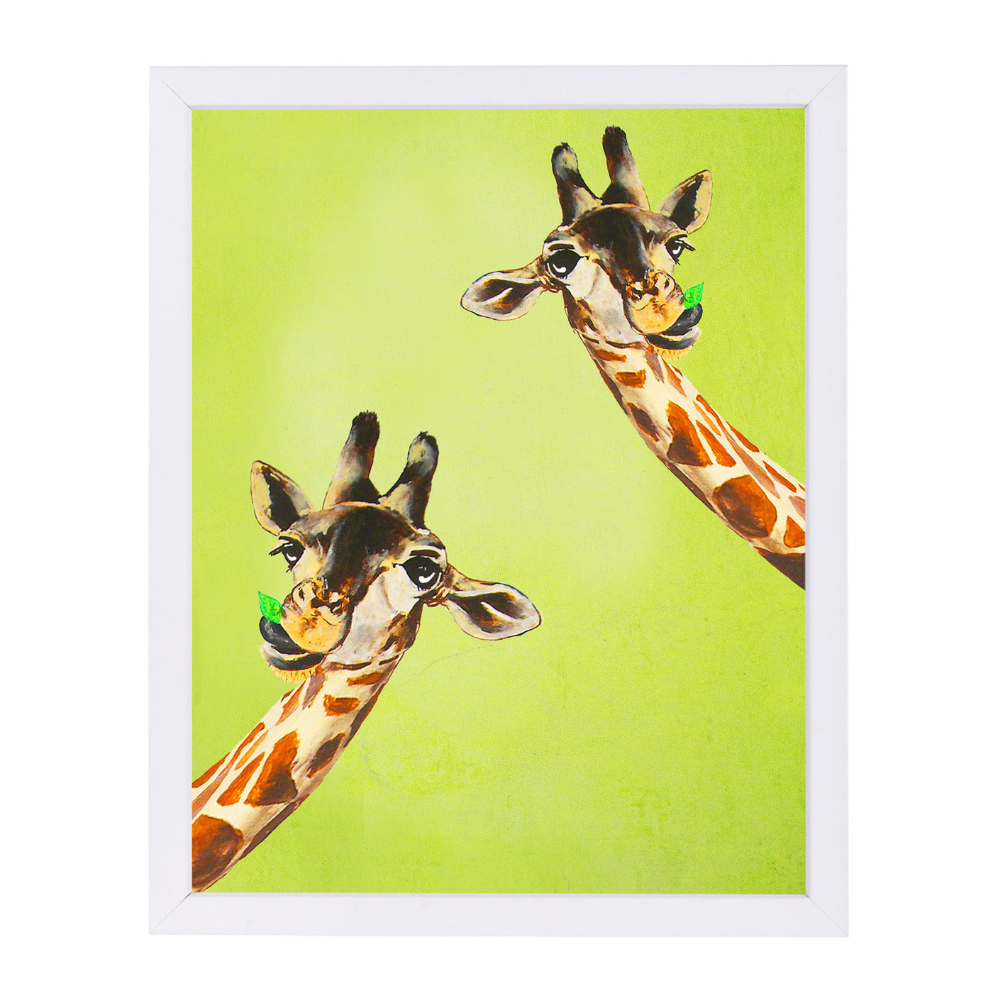 "Giraffes Looking To You By Coco De Paris - White Framed Print, Wall Art, Coco de Paris, 8"" x 10"""