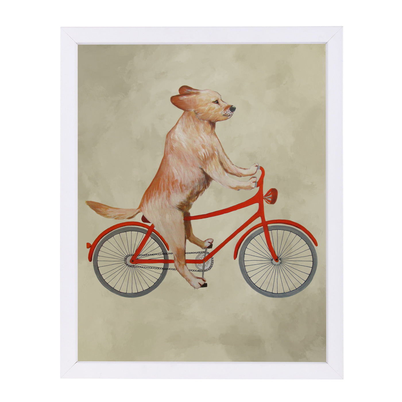 "Golden Retriever On Bicycle By Coco De Paris - White Framed Print, Wall Art, Coco de Paris, 8"" x 10"""