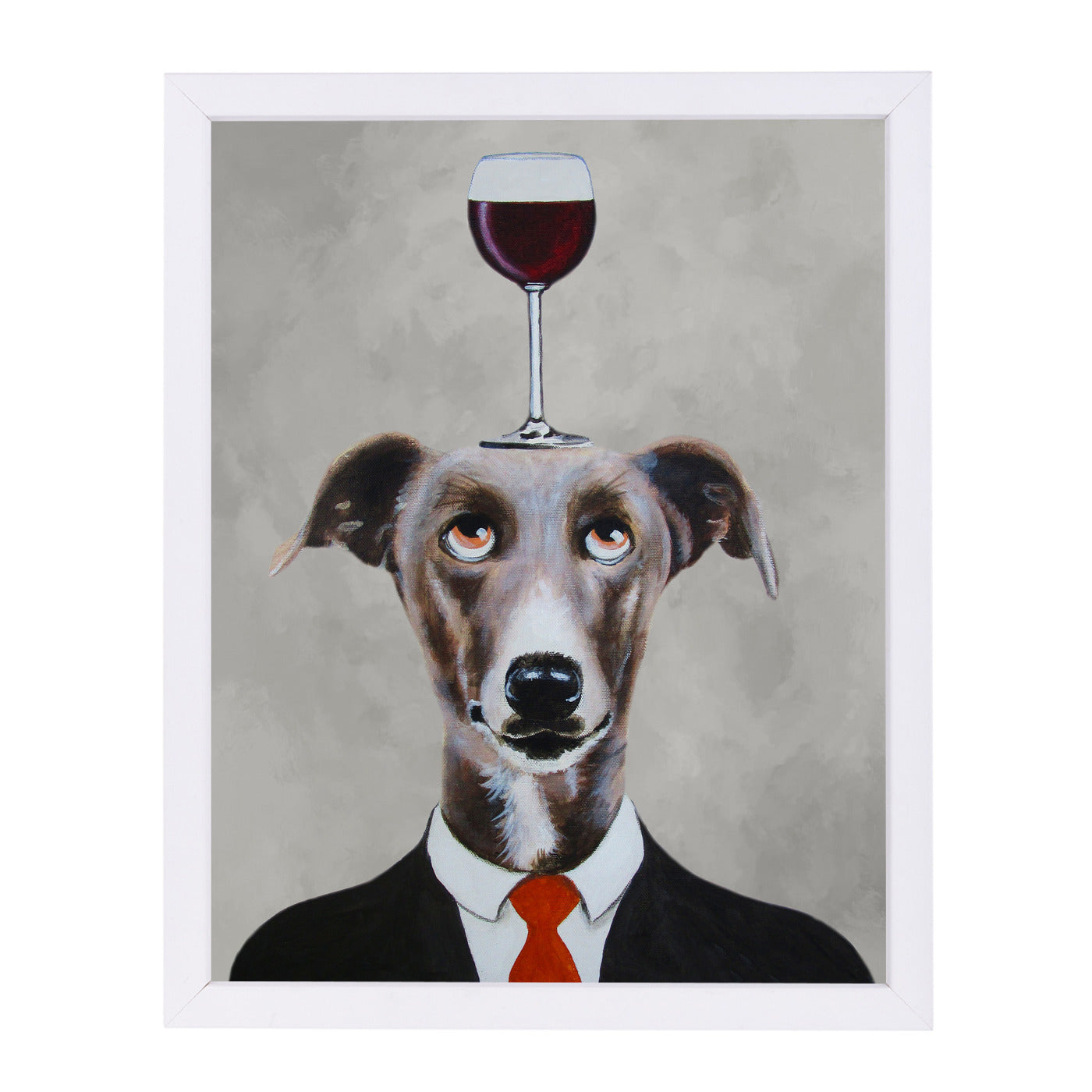 Greyhound With Wineglass By Coco De Paris - White Framed Print - Wall Art - Americanflat
