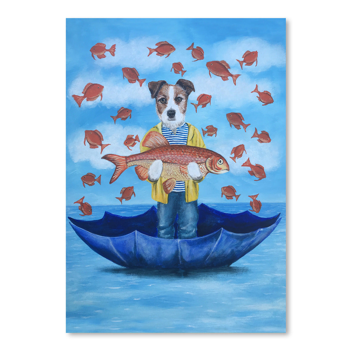 Jack Russell With Big Fish by Coco de Paris - Art Print - Americanflat