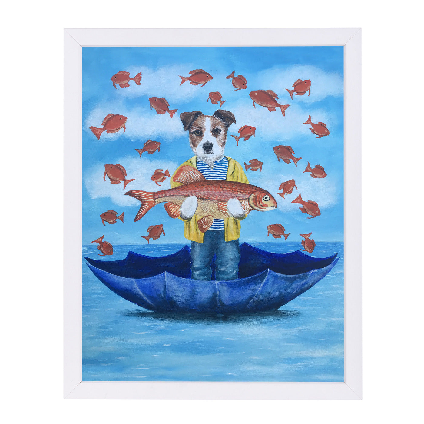 Jack Russell With Big Fish By Coco De Paris - White Framed Print - Wall Art - Americanflat