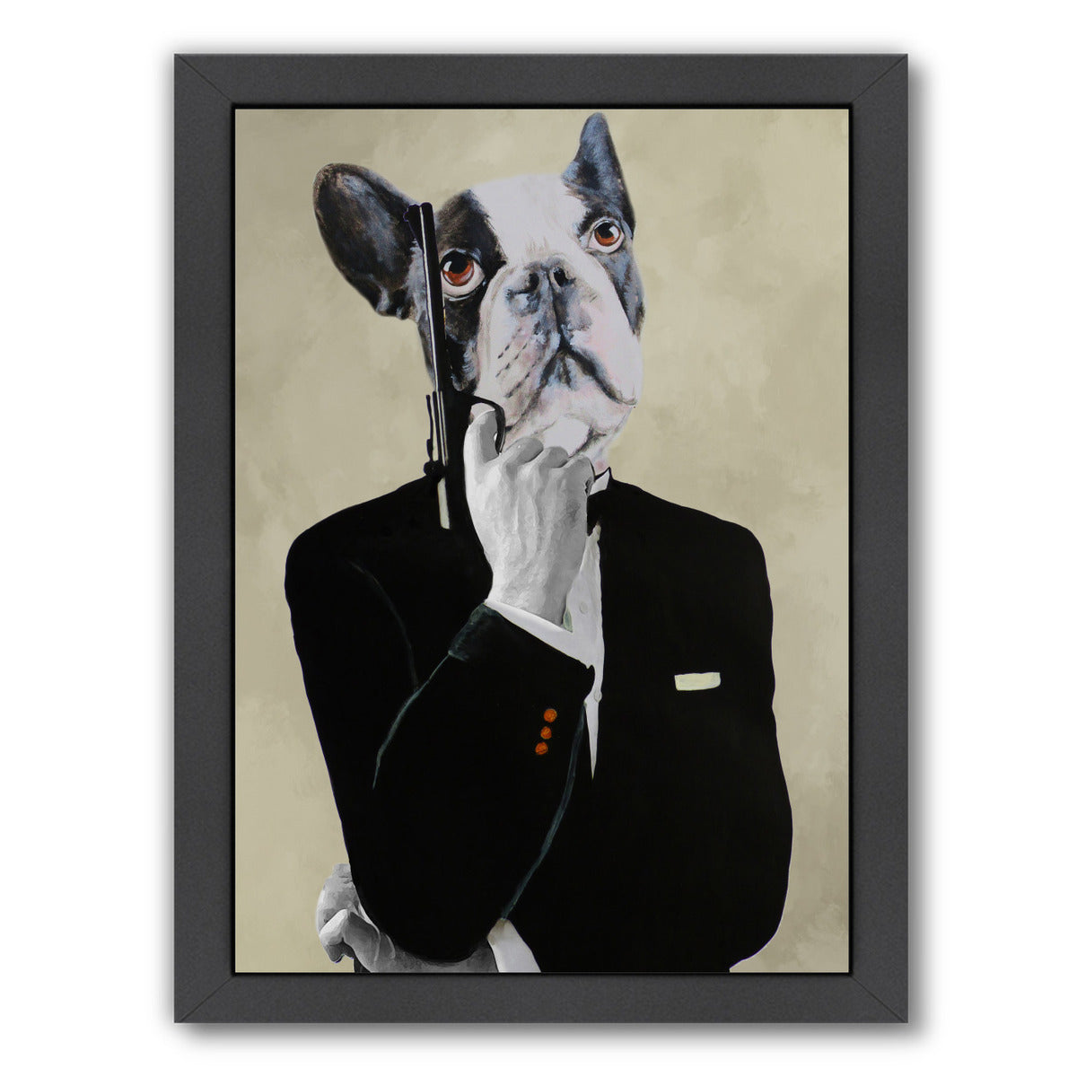 James Bond Bulldog By Coco De Paris - Black Framed Print - Wall Art - Americanflat