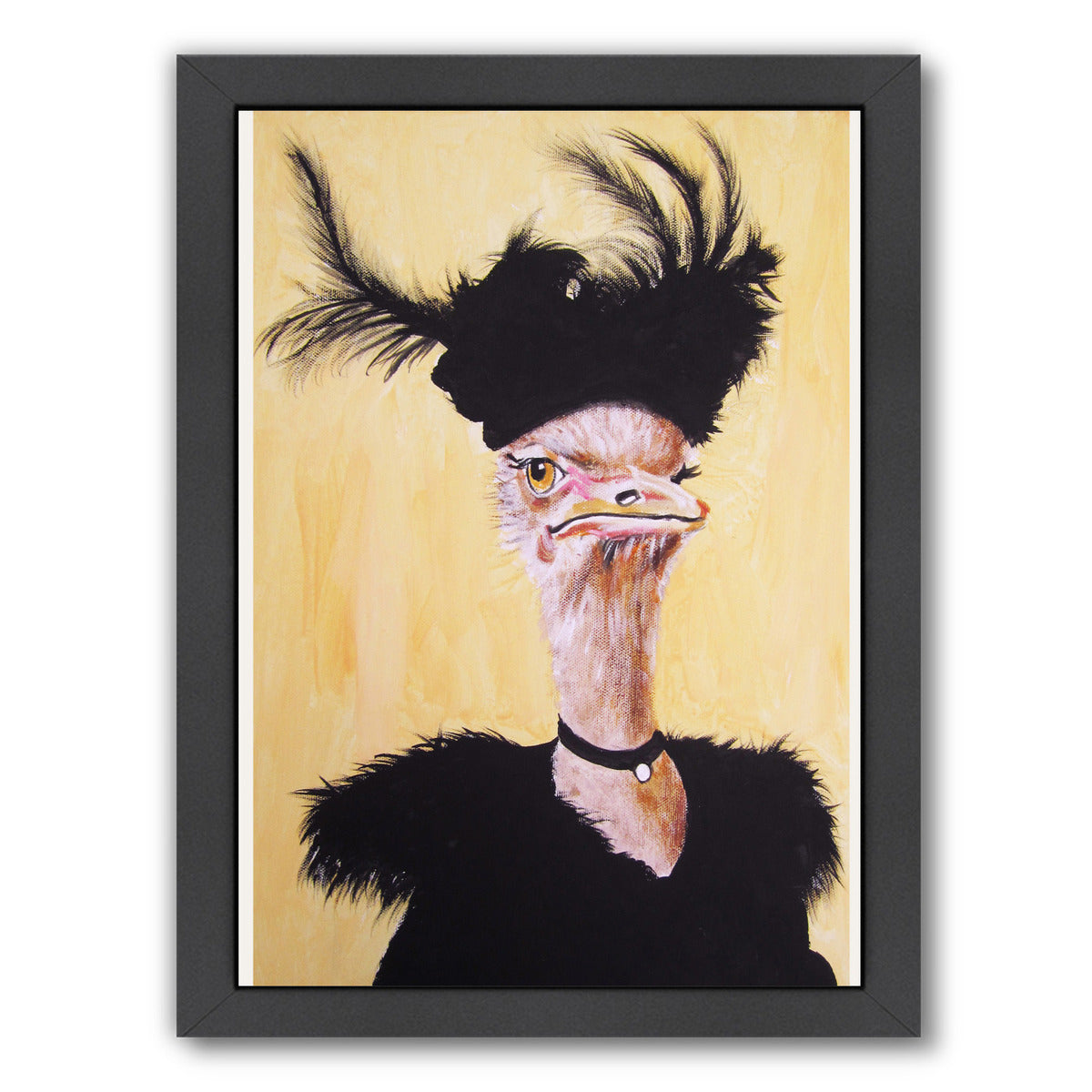 Jetset Ostrich By Coco De Paris - Black Framed Print - Wall Art - Americanflat