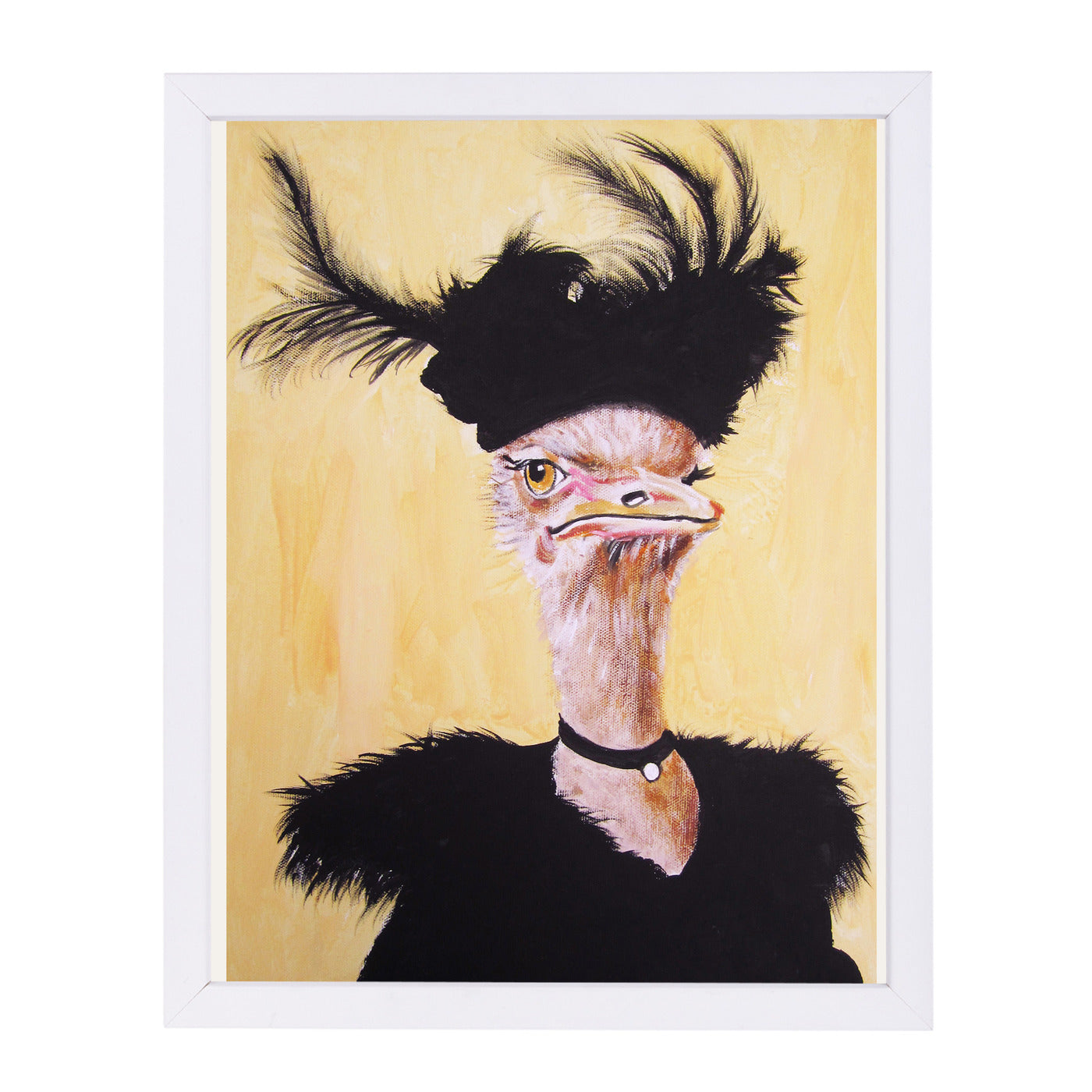 Jetset Ostrich By Coco De Paris - White Framed Print - Wall Art - Americanflat