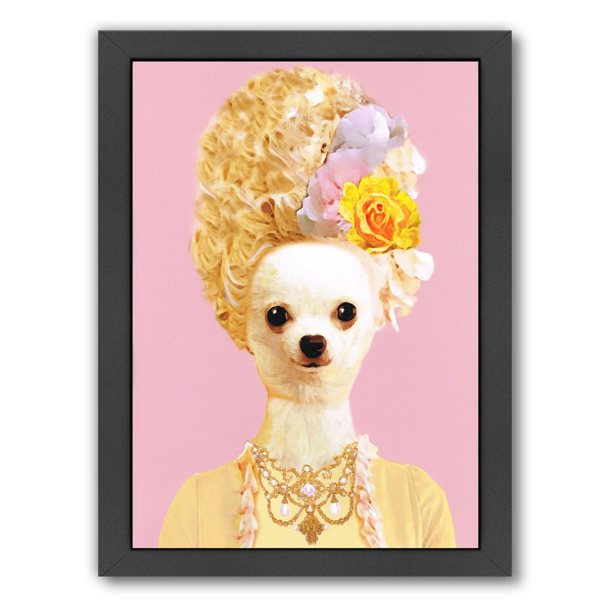 Marie Antoinette Chihuahua By Coco De Paris - Black Framed Print - Wall Art - Americanflat