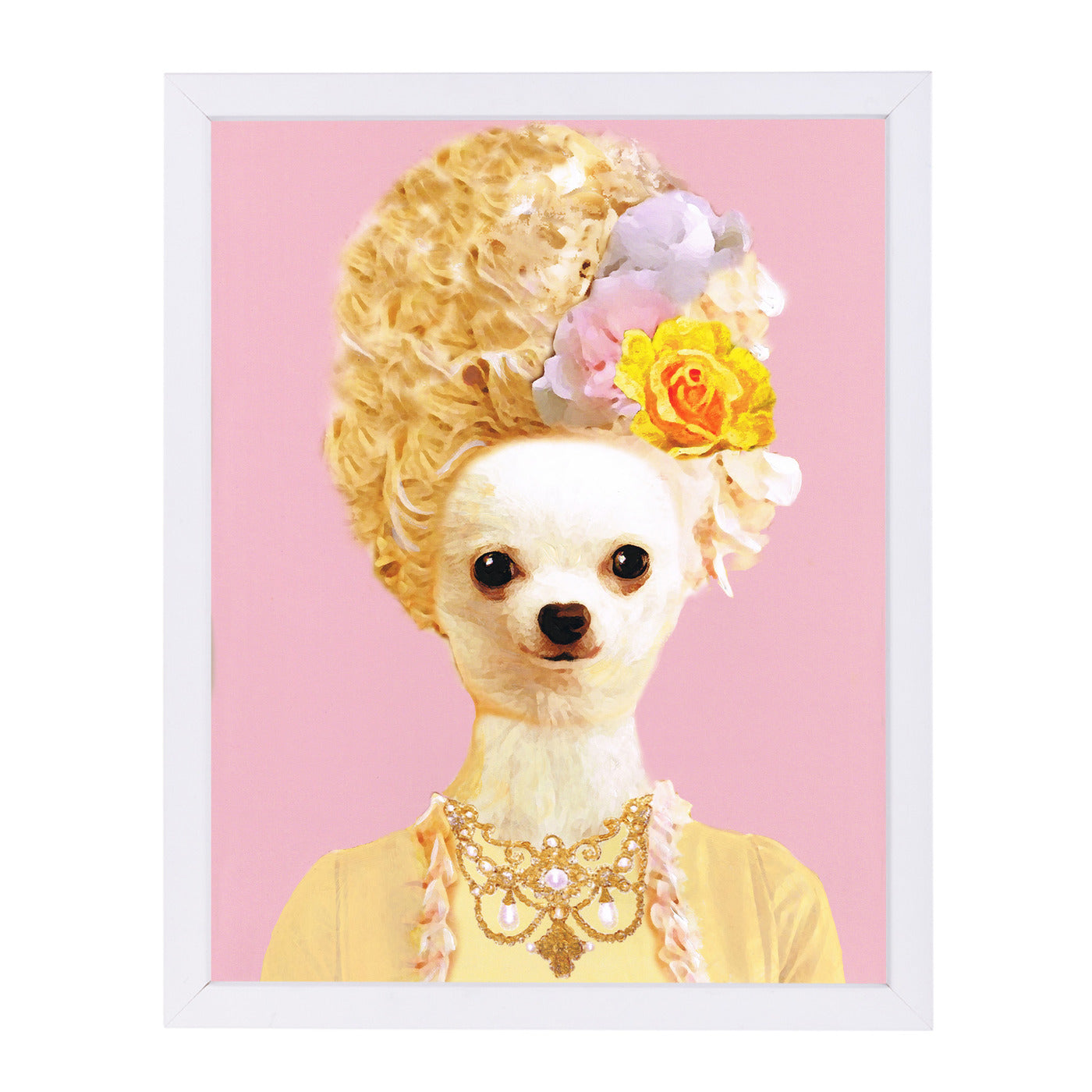 Marie Antoinette Chihuahua By Coco De Paris - White Framed Print - Wall Art - Americanflat