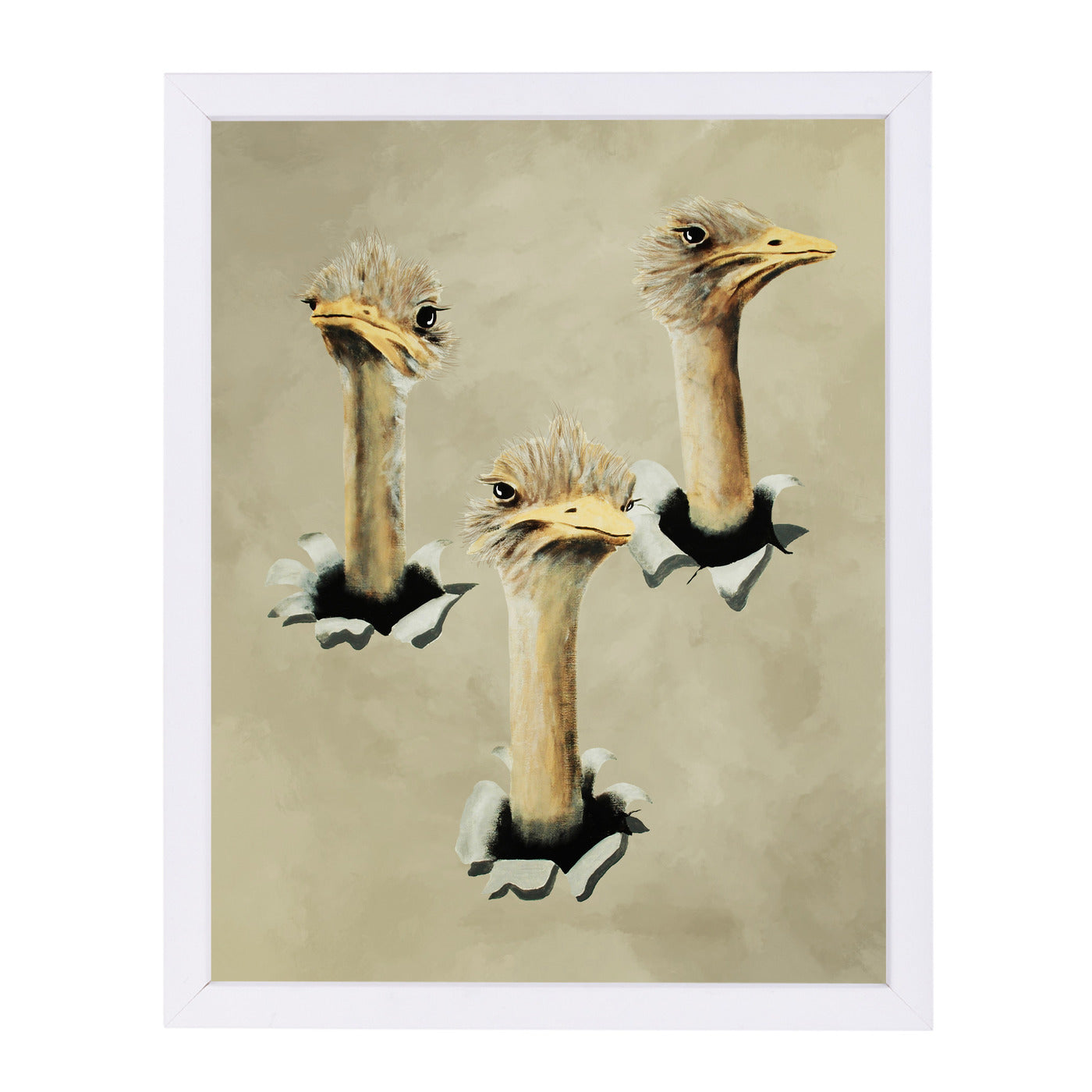 Ostriches Popping Out By Coco De Paris - White Framed Print - Wall Art - Americanflat