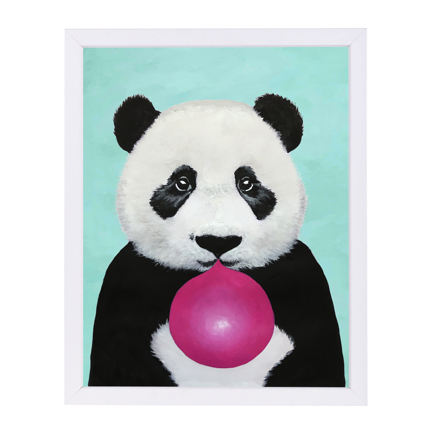 Panda With Bubblegum By Coco De Paris - White Framed Print - Wall Art - Americanflat