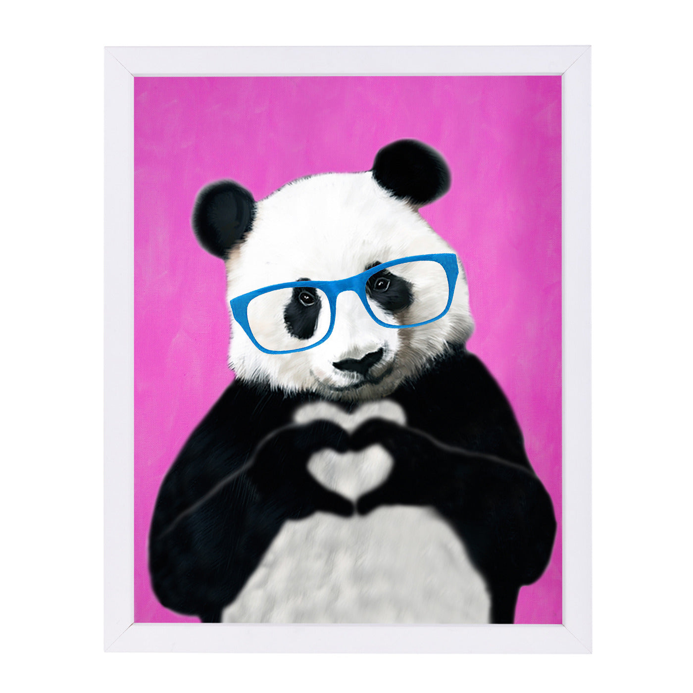 Panda With Fingerheart Pink By Coco De Paris - White Framed Print - Wall Art - Americanflat