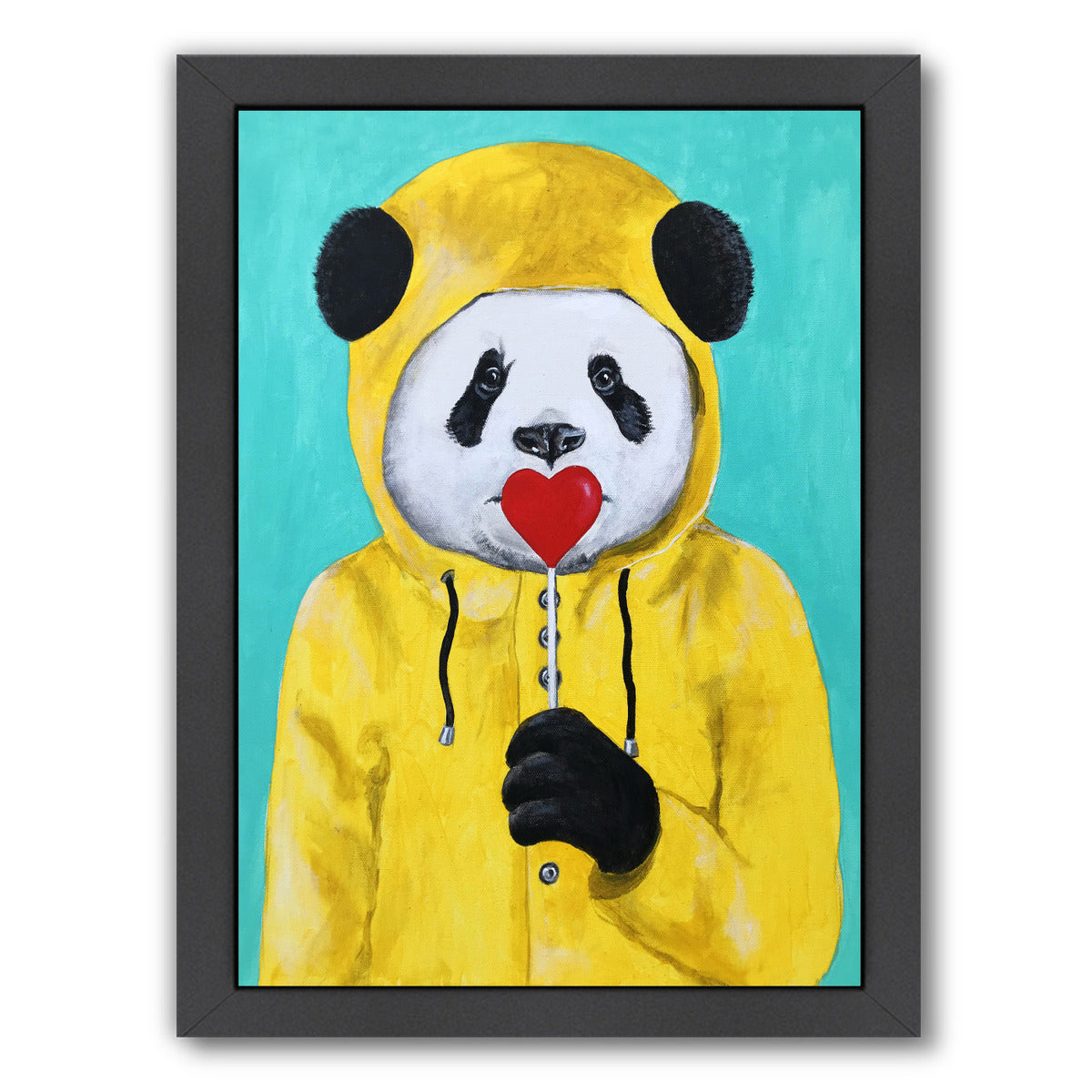 Panda With Lollipop By Coco De Paris - Black Framed Print - Wall Art - Americanflat