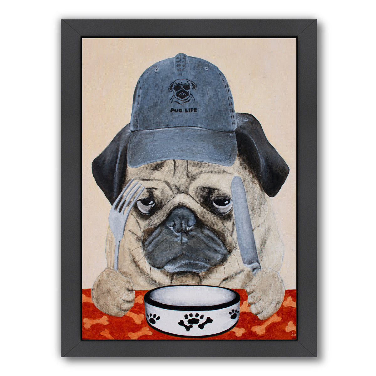 Pug Life By Coco De Paris - Black Framed Print - Wall Art - Americanflat