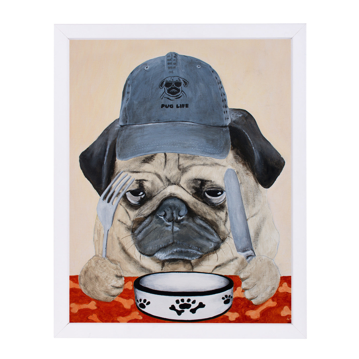 Pug Life By Coco De Paris - White Framed Print - Wall Art - Americanflat