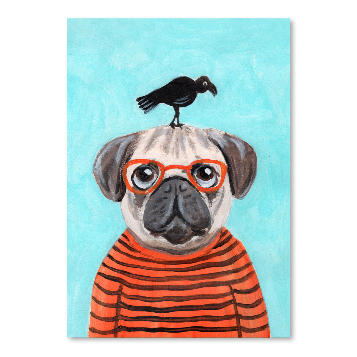 Pug With Craw by Coco de Paris - Art Print - Americanflat