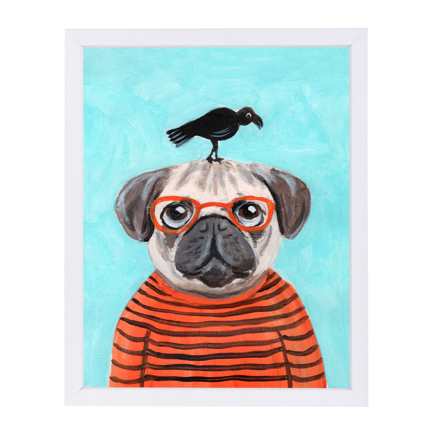 Pug With Craw By Coco De Paris - White Framed Print - Wall Art - Americanflat