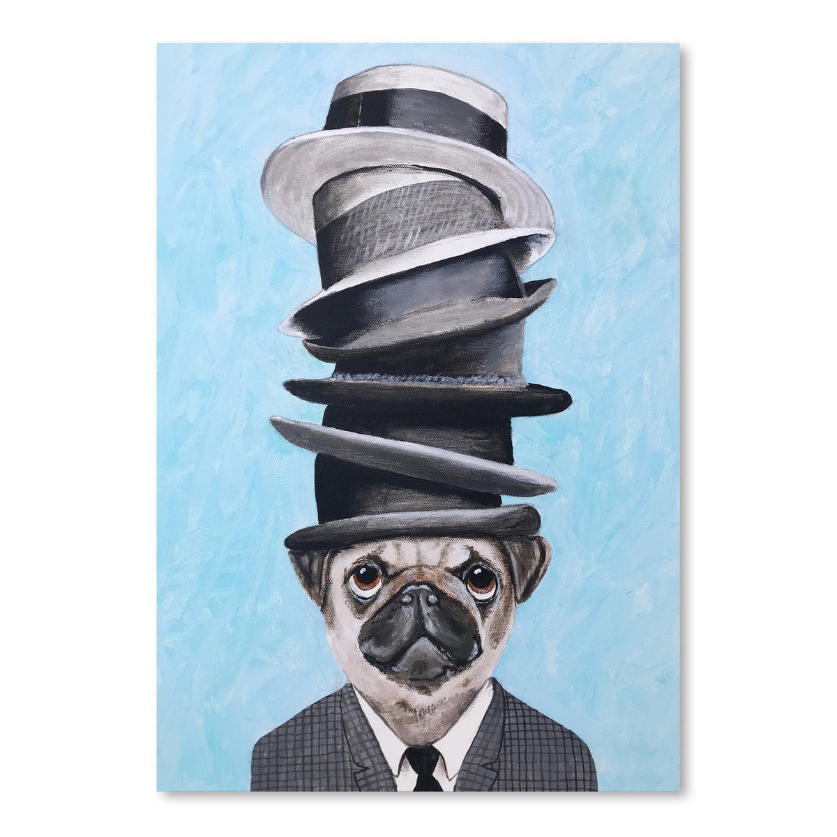 Pug With Stacked Hats by Coco de Paris - Art Print - Americanflat