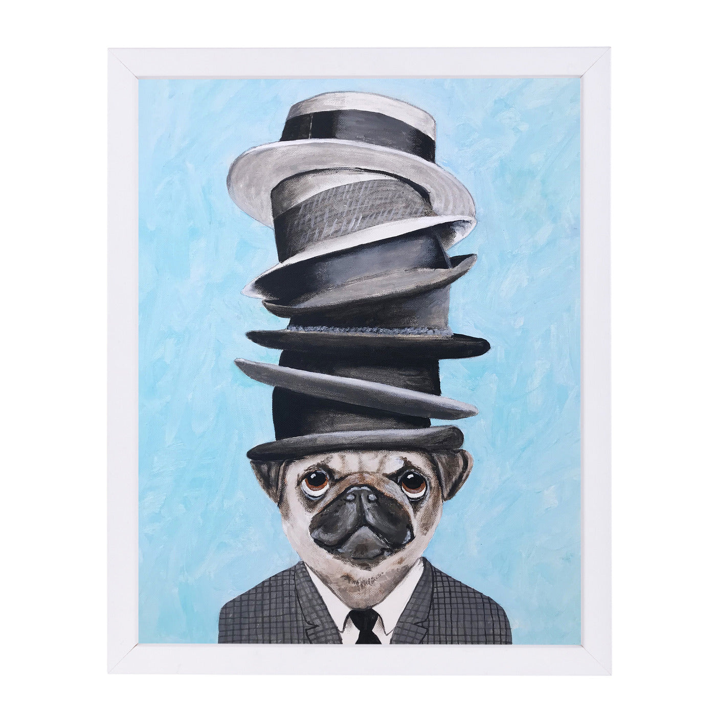 Pug With Stacked Hats By Coco De Paris - White Framed Print - Wall Art - Americanflat