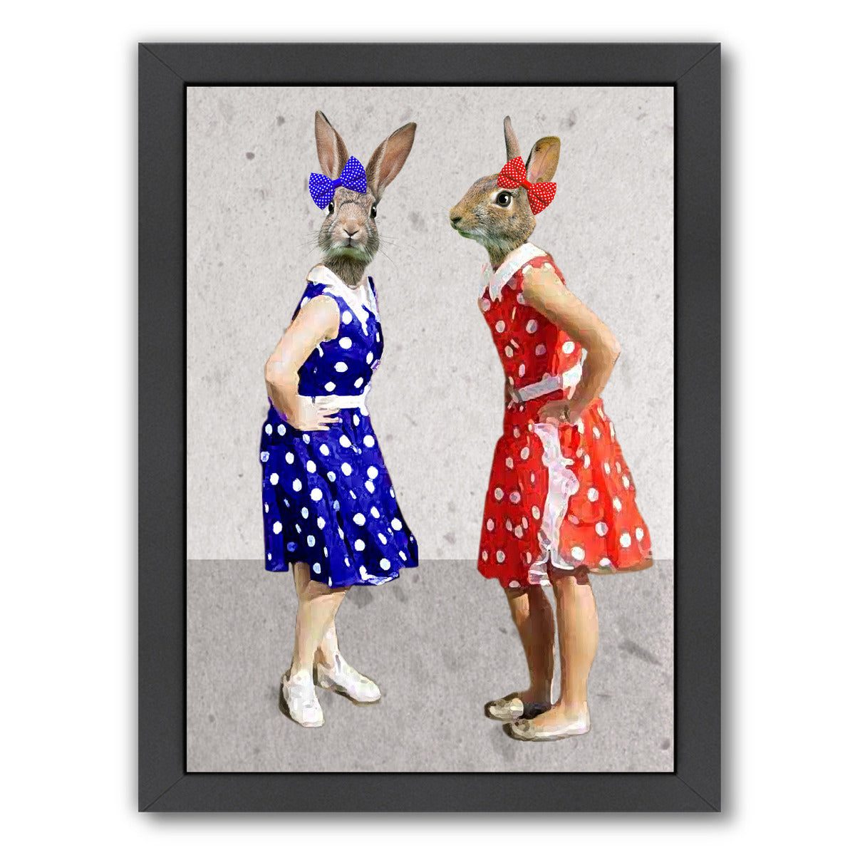 Rabbits Rock & Roll By Coco De Paris - Black Framed Print - Wall Art - Americanflat