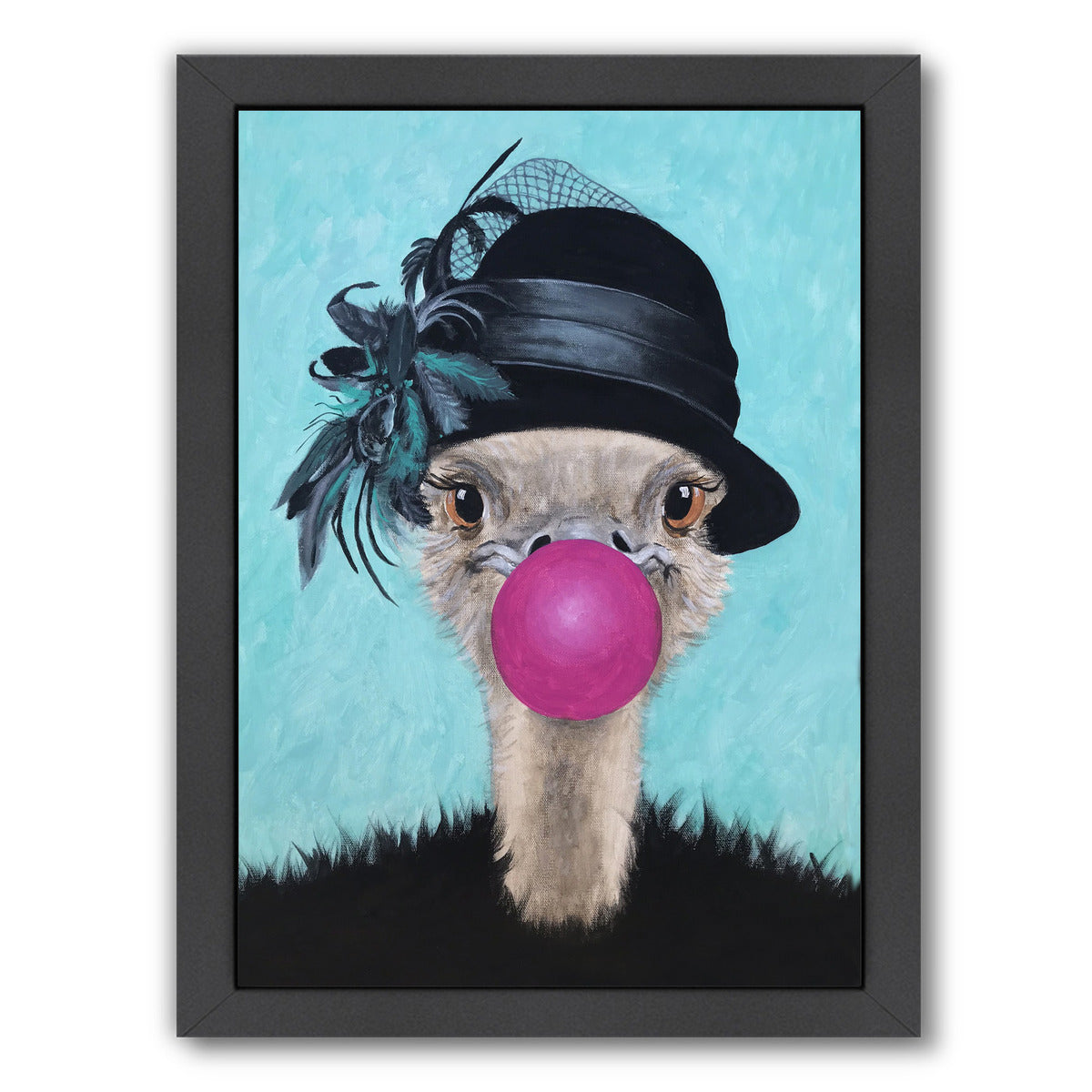 Retro Ostrich With Bubblegum By Coco De Paris - Black Framed Print - Wall Art - Americanflat