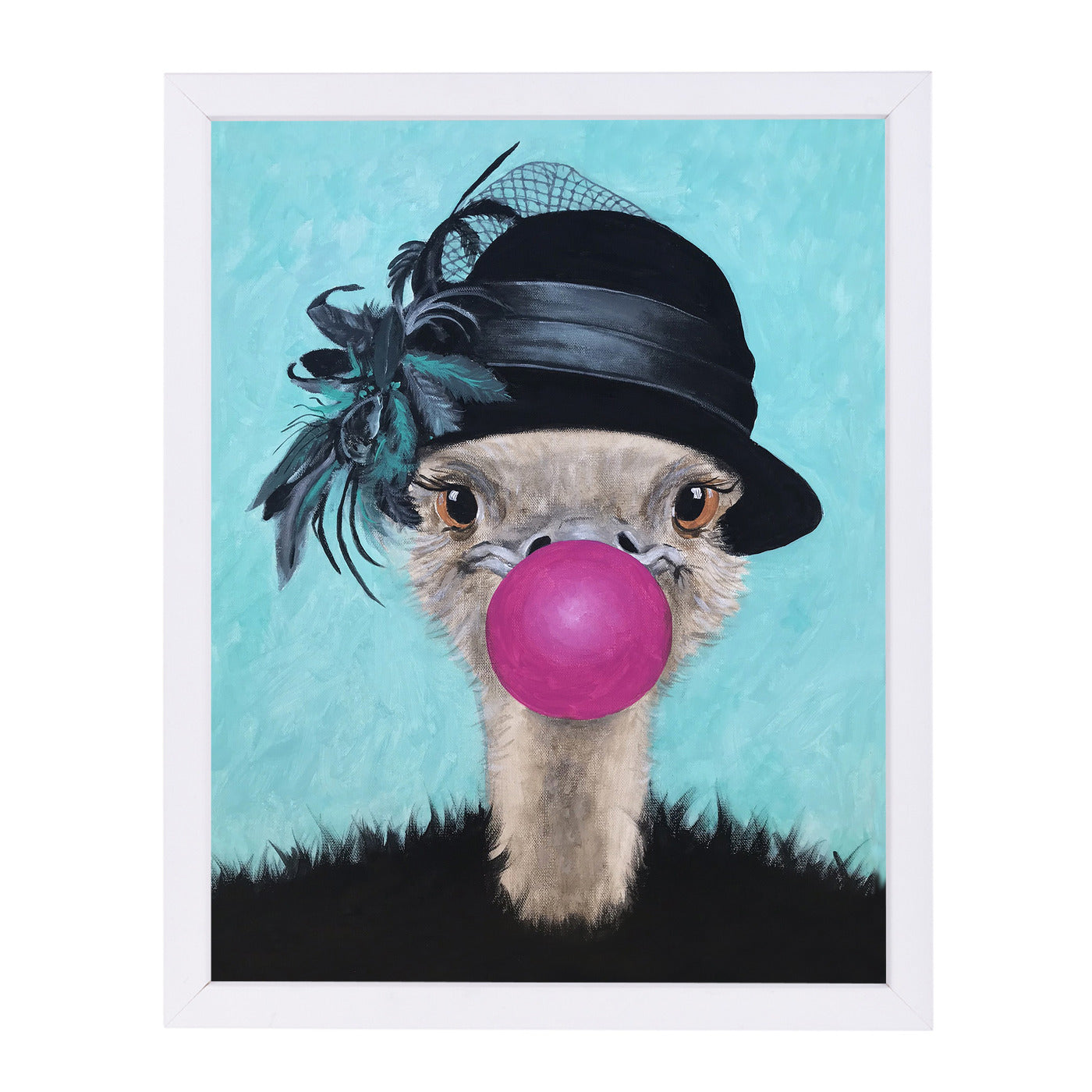Retro Ostrich With Bubblegum By Coco De Paris - White Framed Print - Wall Art - Americanflat