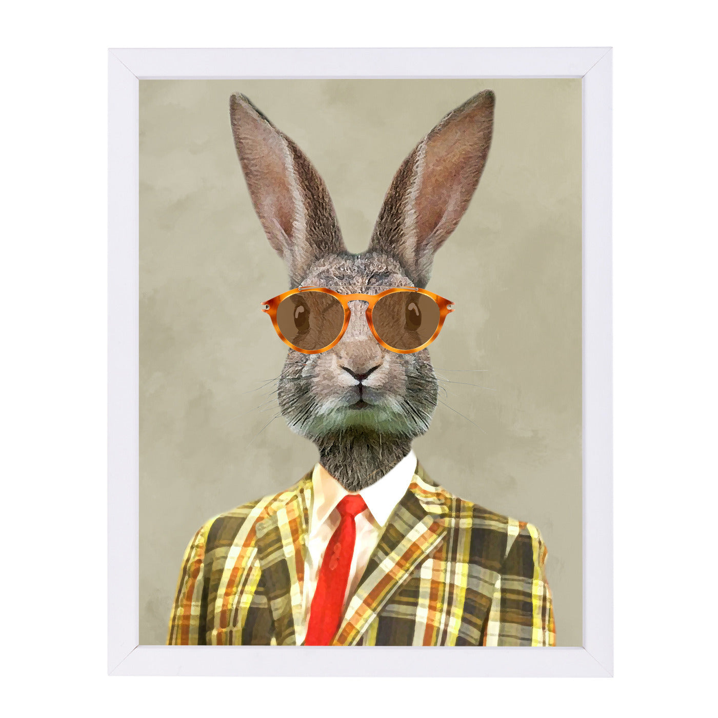 Retro Rabbit Man By Coco De Paris - White Framed Print - Wall Art - Americanflat
