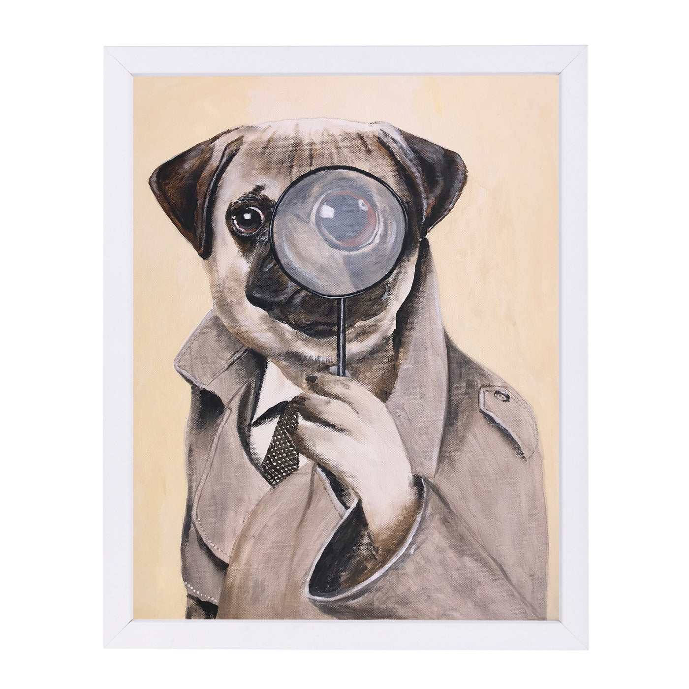 Sherlock Holmes Pug By Coco De Paris - White Framed Print - Wall Art - Americanflat